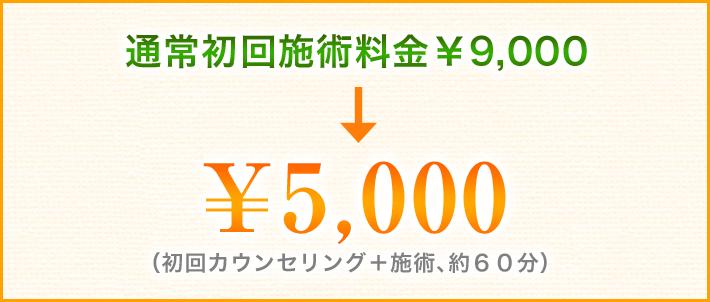 通常初回施術料金¥8,640が半額の¥4,320(初回カウンセリング+施術、約60分)